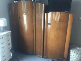 Pair of wardrobes antique restoration boho shabby chic