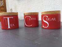 Red tea, coffee, sugar set
