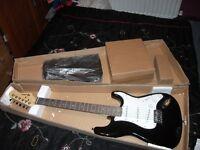 Rockburn Black Electric Guitar With Accessories