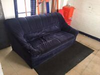 Two 2/3 seater sofas, blue velvet. Any donations gratefully received!