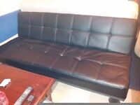 Faux leather black sofa bed + free arm chair