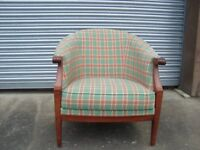 4 matching - Hypnos Bucket Chairs in Green/Red/Cream Check in good condition