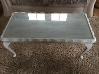 shabby chic farrow and ball wooden glass topped coffee table
