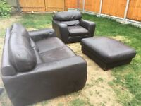 Leather sofa 2 piece suite