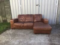 CESAR ITALIAN RANCH CIGAR BROWN LEATHER CORNER SOFA £355 ONO CAN DELIVER 07808077174