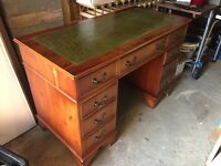 Vintage Style Re-pro Desk With Leather Top