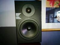 KEF Bookshelf speakers cosmetically fine sound threat plenty of depth for size. Sorry no grills