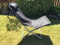 Fishing Chair - foldable, black with silver frame.