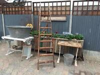 Vintage galvanised metal bucket garden pot planter ornament