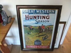 FRAMED GREAT WESTERN RAILWAY HUNTING SEASON POSTER MODERN IN GOOD CONDITION £32