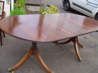 Vintage oval extending dining table for 8 seater - folding table, solid wood.