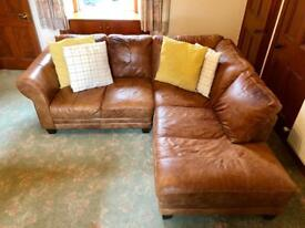 Gorgeous tan leather corner couch, armchair and pouffe