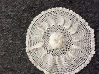 Vintage hand crocheted small round table clothes x 2