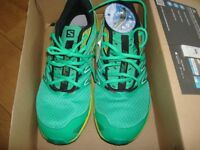 Salomon Sense Link trainers green and yellow size UK 10 new with box,ortholite