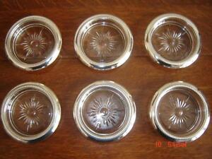 Set of Beautiful Crystal & Silver Coasters - Made in Italy