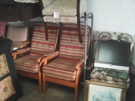 2 x bargain high back armchairs
