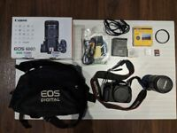 Canon EOS 600D DSLR camera and lens with all accessories