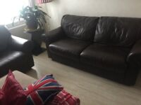 brown leather settee and matching armchair good condition