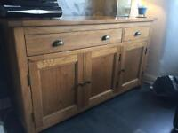 Solid oak sideboard and Italian nest tables