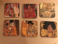 6 Klimt 'The Kiss' Coasters