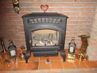 BURLEY CAST IRON FLUELESS GAS HEATER, LOG EFFECT