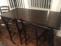 Solid oak refectory dining table - ercol style