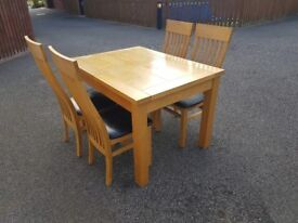 Extending Solid Oak Table & 4 Matching Chairs FREE DELIVERY 260