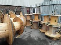 Cable drums reclaimed ready for up cycle into tables or displays etc various sizes