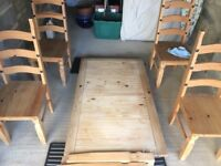 Pine dining table and 4 chairs collection only