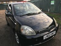 Toyota Yaris CDX 1299cc Petrol 5 speed manual 5 door hatchback 02 Plate 30/06/2002 Black
