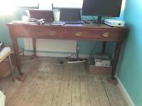 Solid wooden desk with leather top
