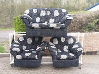 black & cream fabric 2 seater sofa and 2 chairs suite