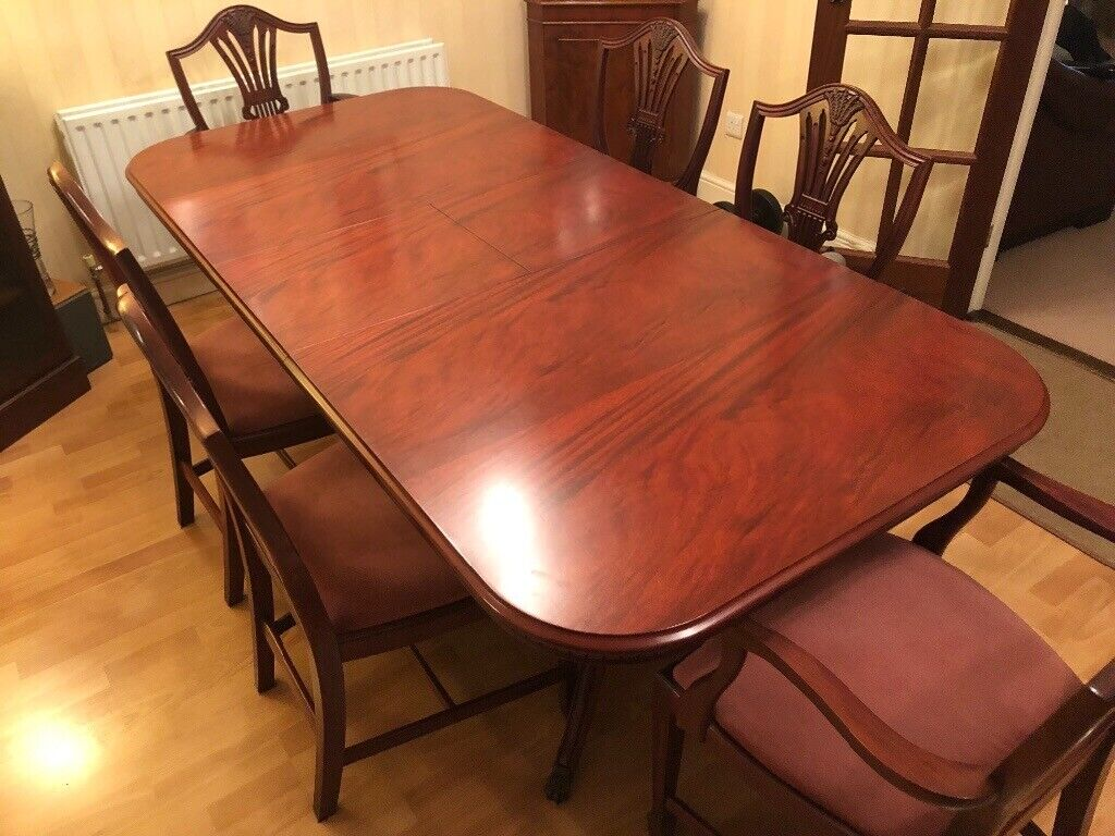 Enjoyable Dark Wood Extendable Dining Table And 6 Chairs In Shifnal Shropshire Gumtree Onthecornerstone Fun Painted Chair Ideas Images Onthecornerstoneorg