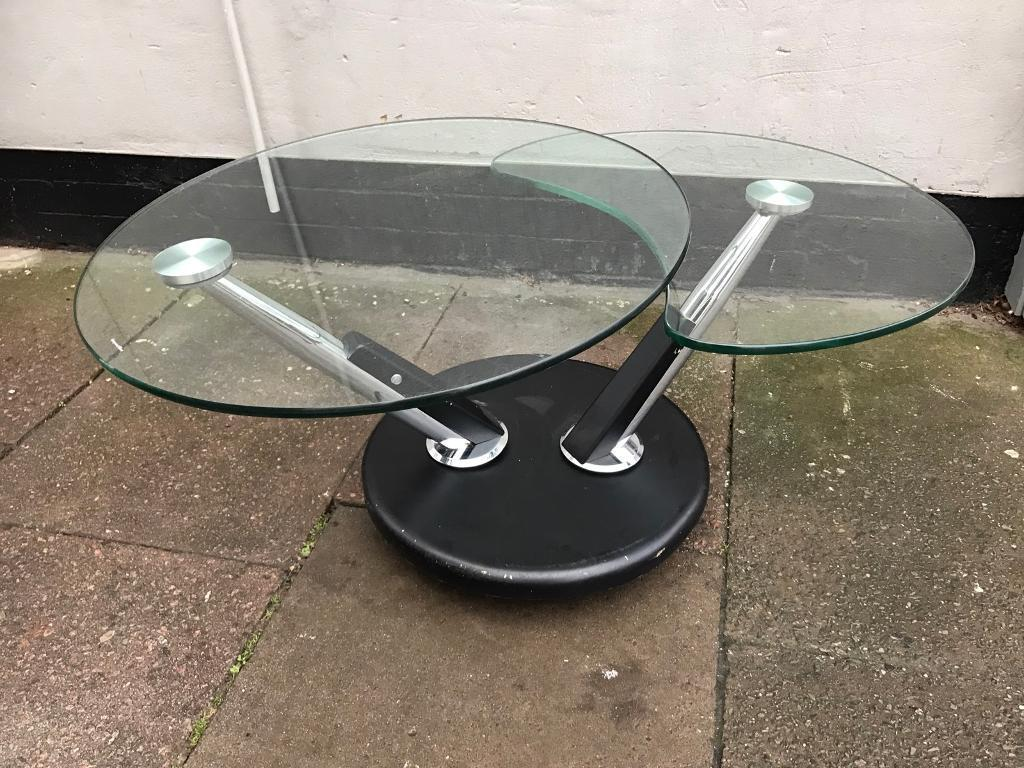 Black glass and chrome swivel coffee table in leicester leicestershire gumtree Black and chrome coffee table