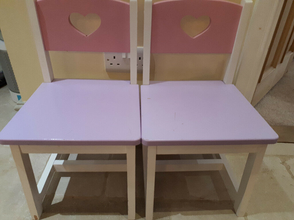 2 Wooden Chairs with pretty heart cut out design
