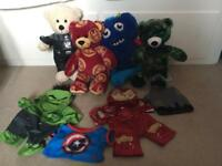 Build a bear - iron man, Darth Vader, monster, camouflage and clothes