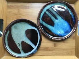Handmade Studio Pottery Plates - Abstract - Pair