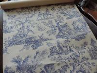 5 rolls of Blue and White Toil de Jouy Wallpaper by Manuel Canovas, Paris