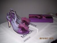 Mireia Stylish Purple Leather Matching Shoes and Clutch Bag