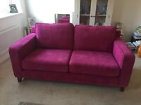 As New Pink Cord Fabric Sofa