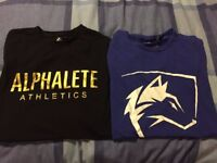 Alphalete Athletics Mens Small Gym T-shirts x2 Black and Gold & Blue £20