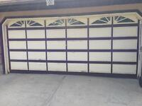 $500 · Solid wood double garage door for sale with hardware.