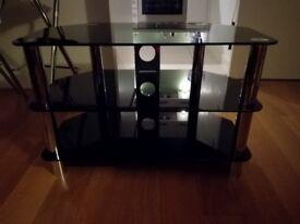 Black glass TV stand (£20)