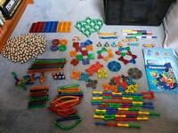 Large collection Magnetix building construction sticks / pieces