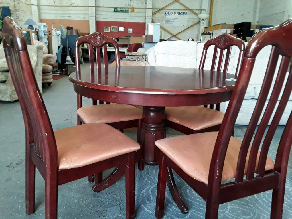Redwood Stylish Circular Dining Table and 4 Chairs