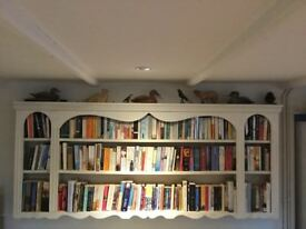 Cream Wood Wall Bookcase/Shelving Unit