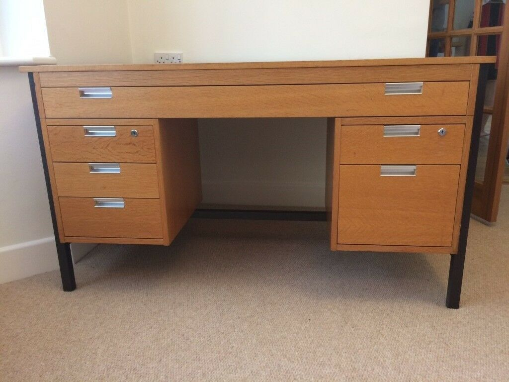 wooden office table. Large Wooden Office Desk With 6 Drawers And Architect Drawing Drawer - Very Good Condition Table R