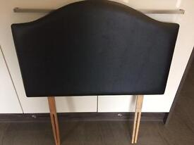 Single bed brown faux leather headboard