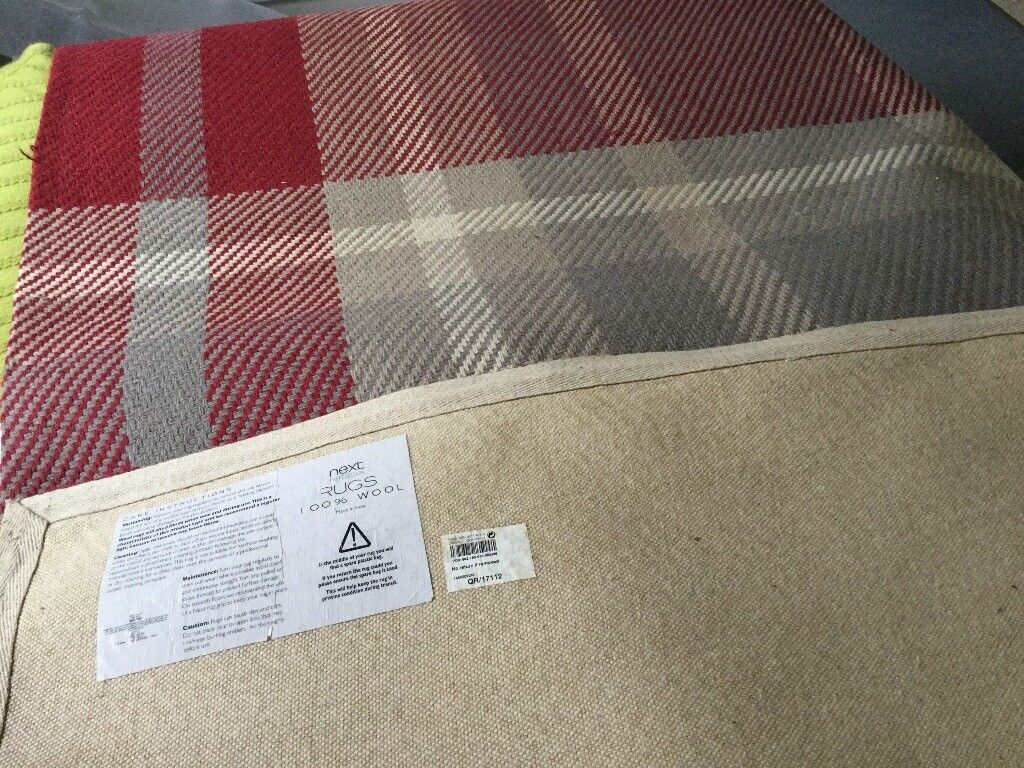Red And Grey Check Rug