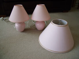 Pair of Lamps and Pendant Shade